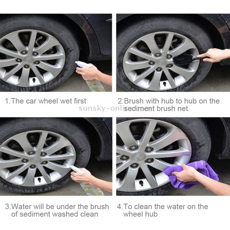 Car Tire Rim Hub Scrub Washing Tool (Black)