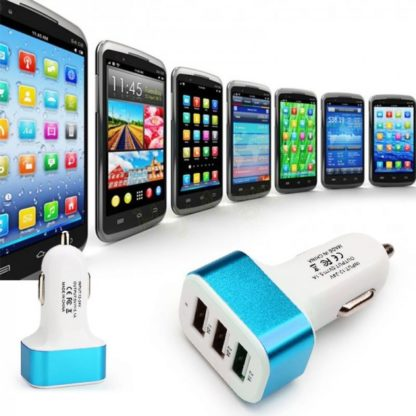 3 Port Universal USB Car-charger - Blue