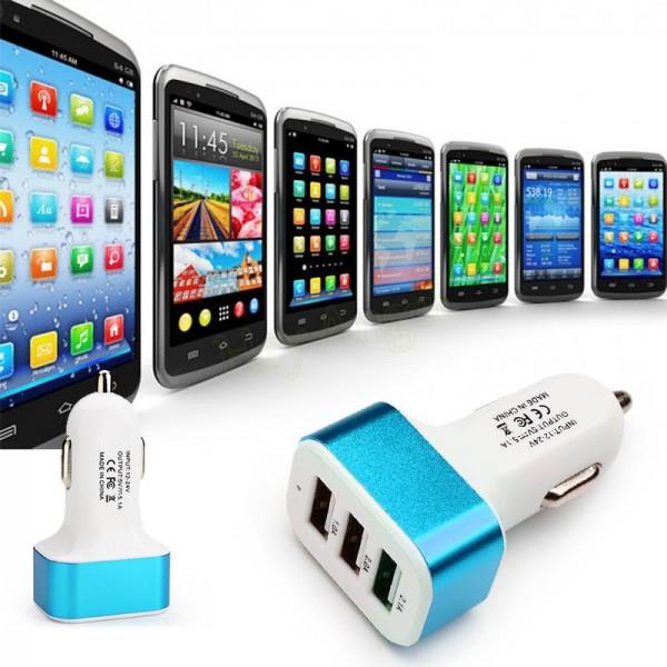 3 Port Universal USB Car-charger - Blue
