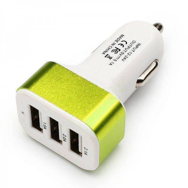 3 Port Universal USB Car-charger - Green