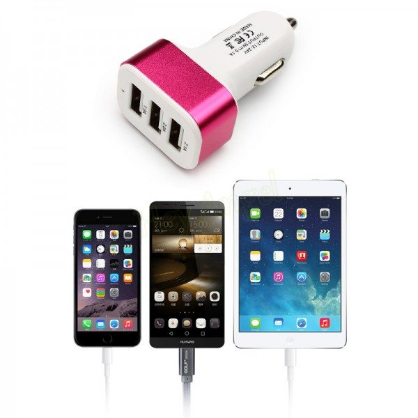 3 Port Universal USB Car-charger - Red